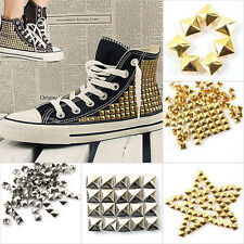 100pcs DIY Silver/gold Metal Punk Square Spike Rivet Studs Leathercraft SALE