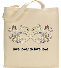 Love Loves To love Love Hearts Romantic Swans Wedding Valentine Lyrics Tote Bag