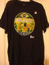 BRAZIL BRASIL FIFA WORLD CUP 2014 SOCCER FOOTBALL BOY'S BLACK T-SHIRT NEW