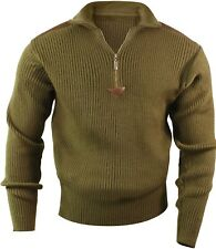 Olive Drab Acryllic Commando Military Style Sweater with Quarter Zip