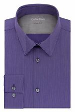 Calvin Klein Men's Cotton Blend Extreme Slim Fit Stripe Dress Shirt Myrtle
