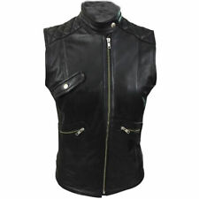 Sexy Womens  Ladies Real BLACK SHEEP LAMB Leather Bikers Waistcoat Vest (W11)