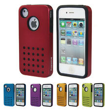 Hard Back Cover Case For iPhone 4 4s Shockproof 2 layer protecter Logo Blue Red