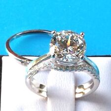 3pc Bridal Set: 3.8ct 10mm Simulated Diamond 925 Sterling Silver Engagement Ring