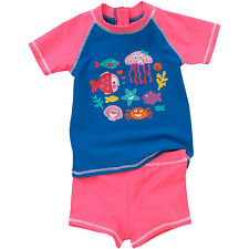 H2O Seahorses Fish Sunsafe UPF40+ Girls and Babies Two Piece Top and Shorts Set