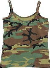 Womens Woodland Camouflage Slim Fit Casual Military Tank Top