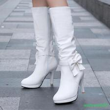 Womens lady knee high boots shoes black white blue pink shoes size bowknot pumps