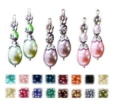 Earrings, pearl crystal petite drop silver, choose color and clip on or pierced