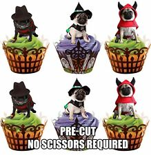 PRE-CUT Devil Pugs - Edible Cupcake Toppers Decorations Halloween Party