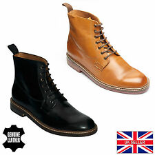 Lucini Mens Leather Lace-Up Derby Boots  Black & Tan