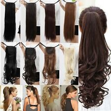 US Post Real New Clip In human Hair Extension Pony Tail Drawing Ponytail  H723