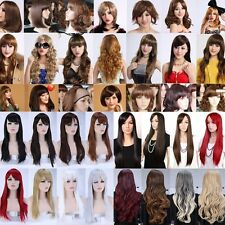Real Cheap Full Head Wigs 100% Synthetic Hair Curly Wave Straight 18 Colors Wig