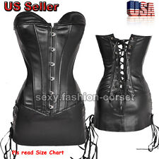 3 PCS Sexy Faux Leather Dress PVC Overbust Corset Goth Fetishism Size S-6XL G5