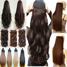 UK Ship Clip In Hair Extensions 3/4 Full Head Weft Straight Wave Style ltd