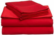 All AU Size Bedding Sheets Collection 1000TC Egyptian Cotton Red Solid