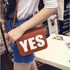 Women Girls YES Letter Leather Handbag Shoulder Messenger Bag Satchel Tote