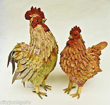 ROOSTER AND HEN FOLK ART FIGURINE SET HAND CRAFTED ALL NATURAL MATERIALS