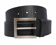 New Mens Block Stripe Textured Real Leather Pin Buckle Belts S-3XL