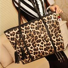 Women Handbag Tassel Leopard Shoulder Bag Wallet Purse Leather Messenger Bag