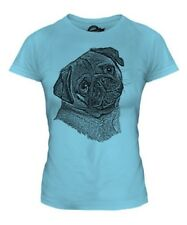 PUG SKETCH LADIES PRINTED T-SHIRT TOP GREAT GIFT FOR DOG LOVER DRAWING