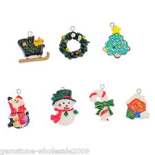 Wholesale W09  Mixed Resin Pendants Christmas Charms Ornaments