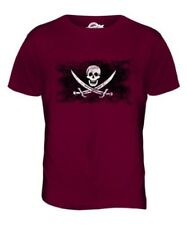 PIRATE DISTRESSED FLAG MENS T-SHIRT TEE TOP SKULL GIFT CROSSBONES CLOTHING SHIRT