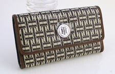 NWT Tommy Hilfiger Women's Trifold Clutch with Checkbook Case Wallet  /Brown