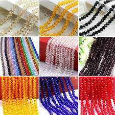 Wholesale Glass Crystal Faceted Rondelle Spacer Loose Beads DIY Glint 4/6/8mm