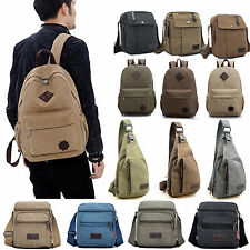 Mens Vintage Canvas Satchel Travel Hiking Backpack Messenger Shoulder Bag Cross