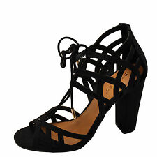 Bamboo Rampage 56M Black Women's Open Toe Lace Up Chunky Heels