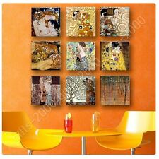 Synthetic CANVAS +GIFT Mother Kiss Tree Life Fan Gustav Klimt Set Of 9 Prints