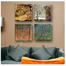 Synthetic CANVAS +GIFT Forest Apple Tree Woman Gustav Klimt Set Of 4 Giclee