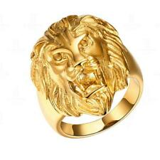 Fashion Gold Jewelry Punk Rock Men's Stainless Steel Lion Head Band Finger Ring
