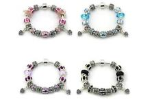 Stirling Silver Charm Bracelet with Murano Glass Beads