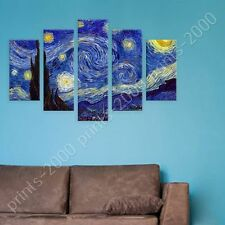 POSTER or STICKER +GIFT Decals Vinyl Starry Night Vincent Van Gogh 5 Panels