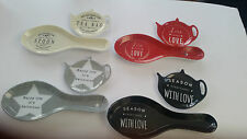 Melamine Tea Pot Tea Bag Holder Tea Spoon Holder Rest - Various Designs - NEW