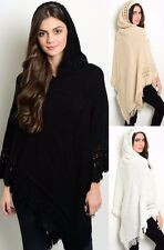 Ms Accessories Hooded Knit Poncho High Low Crochet Fringe Sweater Boho MYF1031