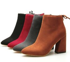 UK All Size Pointed Block High Heel Lady Shoes Side Zip Ankle Women's Boots H271