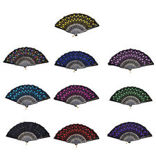 New Embroidered Folding Sequins Hand Lace Flower Fan Party Wedding Decor EV