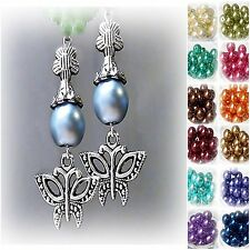 Earrings Silver Butterfly Charm and Pearl, clip on or pierced, colour choice