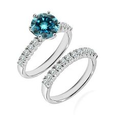 1.25 Ct Blue Diamond Fancy Wedding Anniversary Solitaire Ring Bnad White Gold