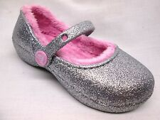 Crocs Karin Sparkle Fuzzy Lined Mary Janes Little Girls/Big Girls Silver/Pink