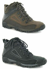 MENS LEATHER BLACK BROWN LACE UP WALKING HIKING ANKLE BOOTS - A3034