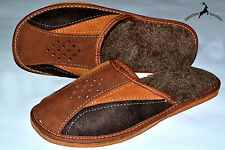 Mens Real Suede Leather Wool Slippers Shoes Sandal Handmade Poland Warm Soft New