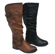 Women's Cowboy Knee High Riding Flat Heel Boots Shoes PITA-32