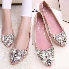 New Women Loafers Flats Moccasins Ballerina Ballet Shiny Pointy Rhinestone Shoes
