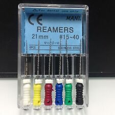 10Pak Reamers 21mm #15/40 Niti Stainless Steel Mani Endo Root Canal File HUK