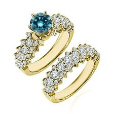 1.75 Ct Blue Diamond Fancy Cluster Solitaire Wedding Ring Band 14K Yellow Gold