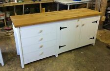 Rustic Pine Freestanding Kitchen Unit Cupboard Drawers Oak Top Farmhouse Painted
