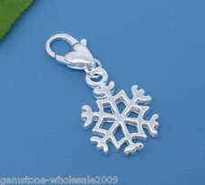 Wholesale Lots Silver Plated Clip Snowflake Charms. Fits Link Chain Bracelet